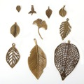 Metal Vintage Charms Pendant 47pcs/lot Antique Bronze Plated Leaf Charms Fashion Jewelry Findings Accessories Parts for DIY