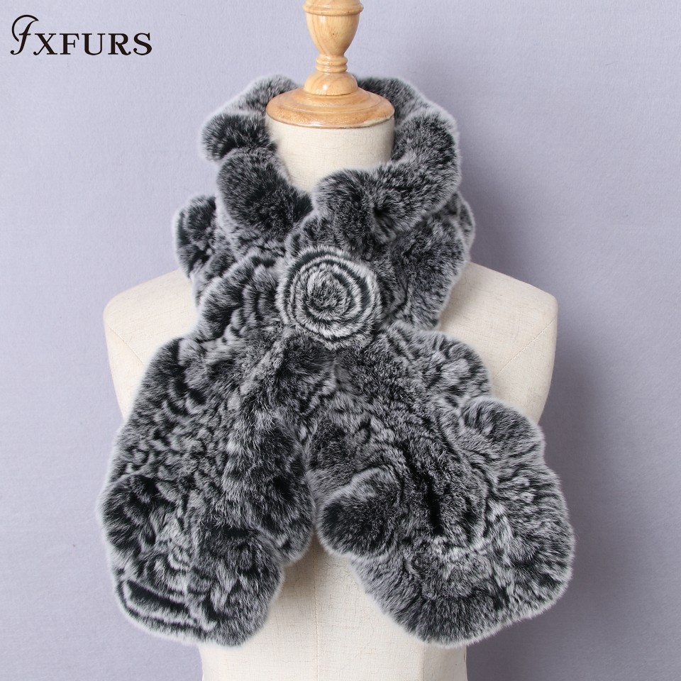 FXFURS High Quality Fashion Womens Knitted Rex Rabbit Fur   Scarves   Natural Fur Neckerchief Winter Real Fur Flounce   scarf     Wraps