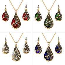 Crystal Peacock Necklace Earrings Jewelry Set Fashion Lady Water Drop Pendant Necklace Animal Bohemian Jewelry Gift(China)