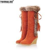 YOUGOLUN Mode nubuck cuissardes bottes de neige Élégant Lapin poils genou haute Hiver haute Coins talons bottes femme chaussures femmes