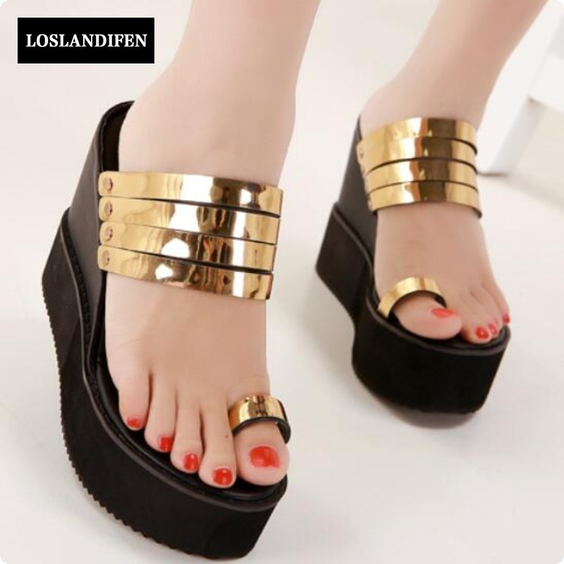 Women Sandals Brand Designer Wedge Heels Ladies Sexy Metal Decor Creepers Heeled Gladiator Shoes Zapatos Mujer Gold Shoes Woman phyanic 2017 gladiator sandals gold silver shoes woman summer platform wedges glitters creepers casual women shoes phy3323