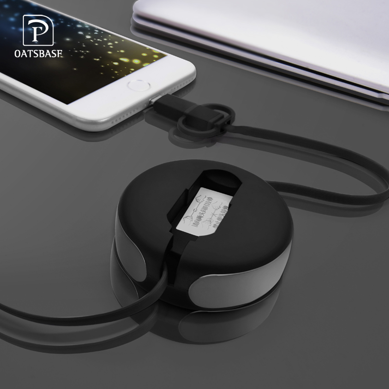 OATSBASF 2in1 Retractable 1m Micro USB Cable and 8Pin Cable for Android Micro USB Data Cable and for iPhone 8Pin Port