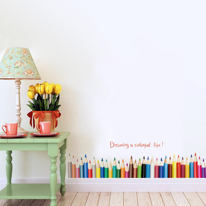 3D DIy Creative Colored Pencil Drawing Skirting Window
