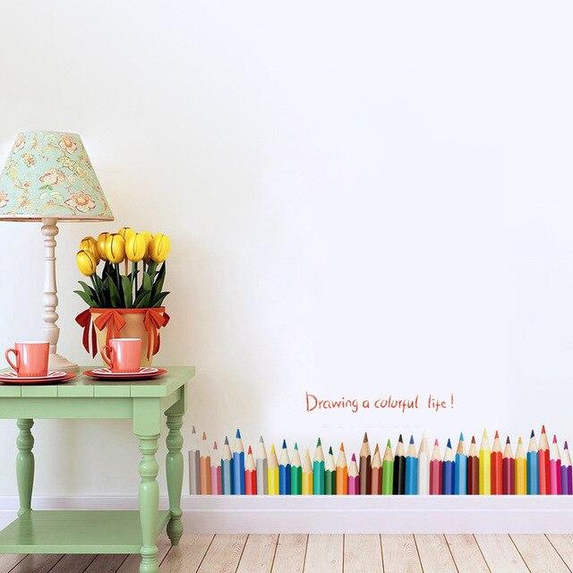 3D DIy Criativo Desenho De Lápis Colorido Etiquetas Da Janela Home Decor  Sala Rodapé Rodapé Adesivos