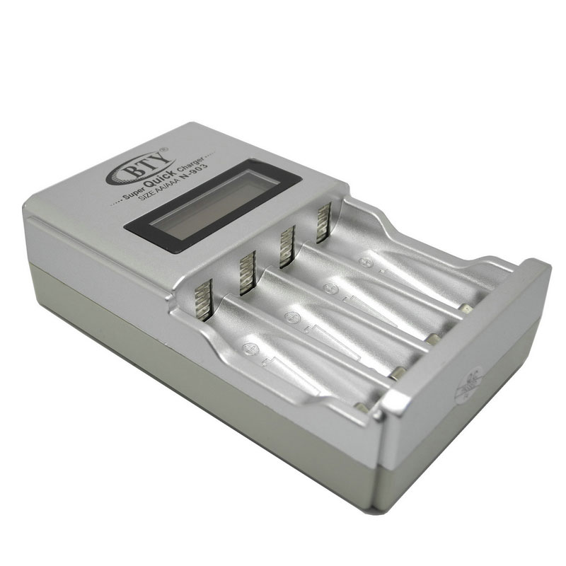 Digital Intelligent LCD AA AAA Battery Charger For 4pcs NiMH NiCd Battery BTY Charger US EU Plug Rechargeable Batteries Charger