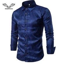 VISADA JAUNA Новая мужская рубашка с вышивкой и длинными рукавами, Повседневная тонкая рубашка в европейском стиле, размер M-2XL, TLH70