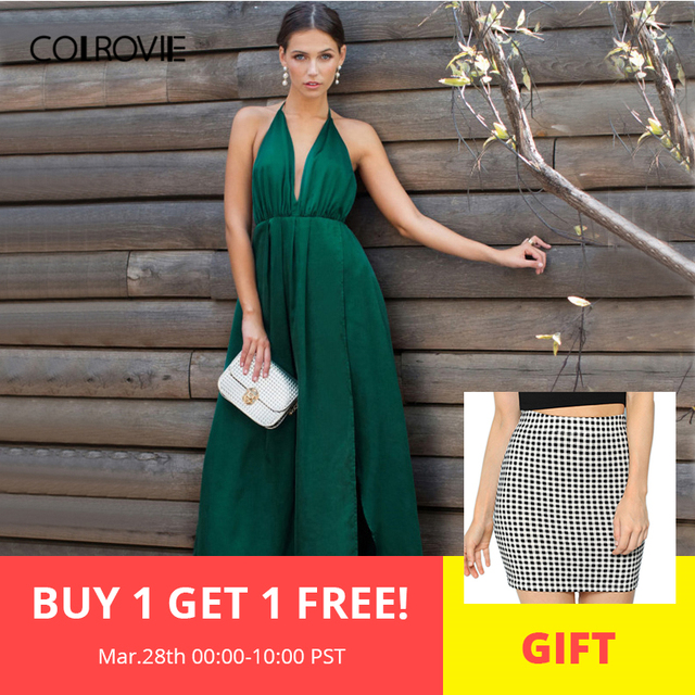 bbbdcd4935638 COLROVIE Sexy High Slit Satin Maxi Party Dress Women Plunge Neck Cross Back Summer  Dresses Green