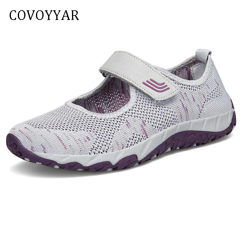 COVOYYAR 2019 Women Casual Shoes Breathable Mesh Platform Women Sneakers Summer Hook Loop Light Walk Shoes WSN764