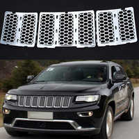 MAYITR 3 STKS ABS Grille Insert Honingraat Voor Grill Trim cover Jeep Grand Cherokee 2014 2015 2016 Zilver