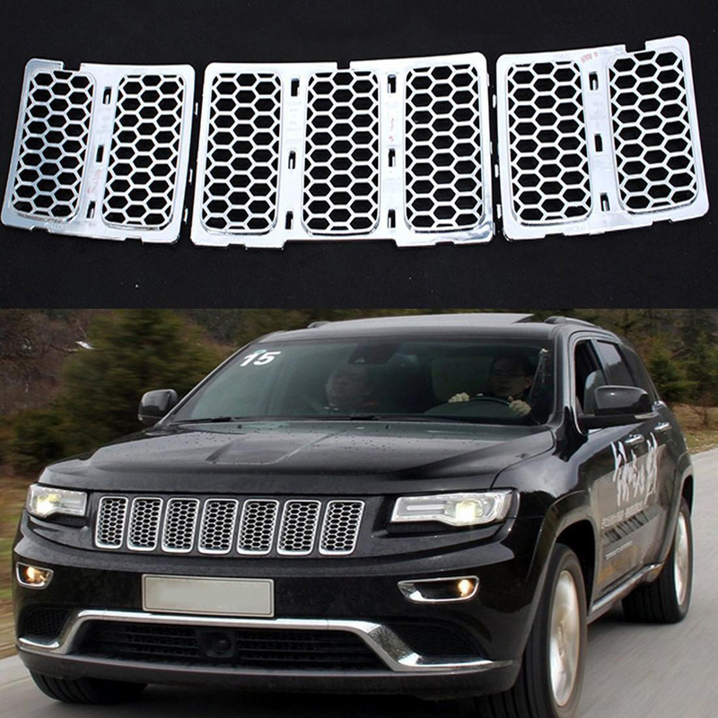 MAYITR 3PCS ABS Mesh Grille Insert Honeycomb Front Grill Trim Cover for Jeep Grand Cherokee 2014 2015 2016 Silver front grill mesh grill insert set cover front grille sticker racing grills trim for jeep wrangler jk 2007 2015