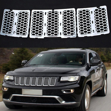 MAYITR 3PCS ABS Mesh Grille Insert Honeycomb Front Grill Trim Cover for Jeep Grand Cherokee 2014 2015 2016 Silver