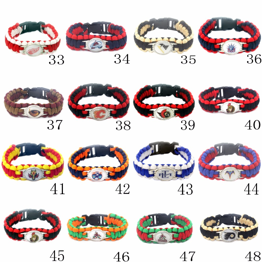 Hockey Sport Team Umbrella Braided Jewelry Bracelet 33-38 Field Survival Bracelet For Fans Charm Jewelry