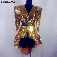 Gold Silver Black Sequins Jacket Overcoat Fashion Long Coat Female Singer Dancer Stage Performance Show Dance Costume Nightclub