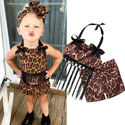 2017 Newborn Infant Baby Girl Leopard Outfits Tassels Tank Tops+Shorts 2pcs Clothes Set Clothing