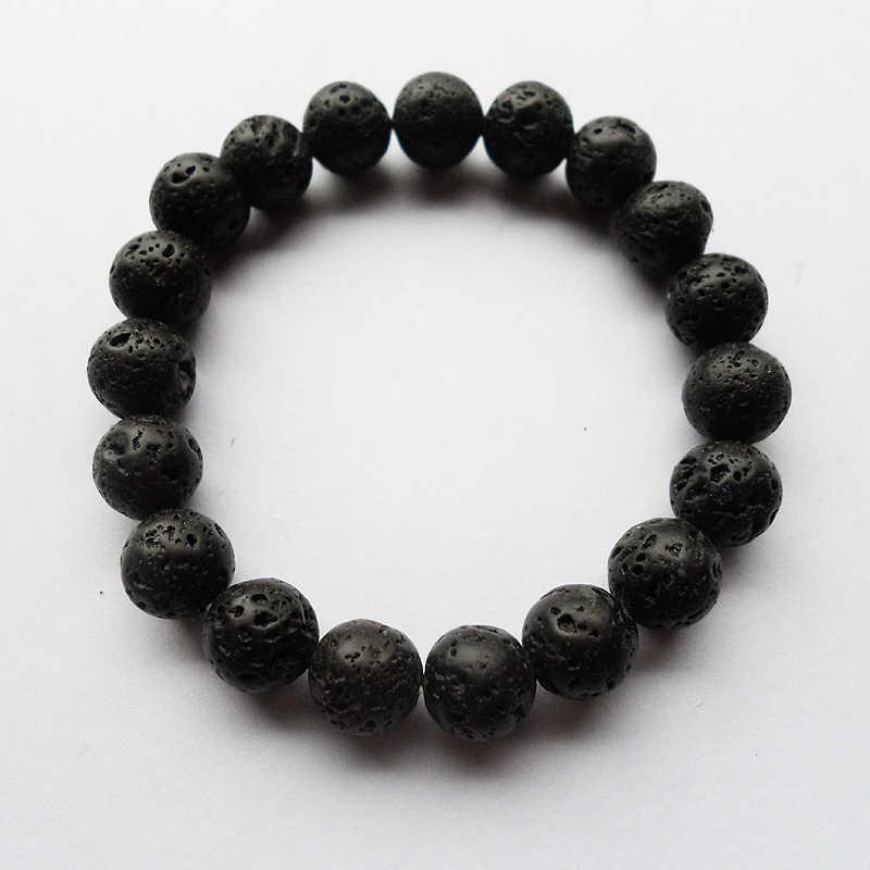 Goede Kwaliteit Diy 10Mm (19Pcs) Zwart Natuurlijke Vulkanische Steen Kralen Armband, Yoga Armband Gift