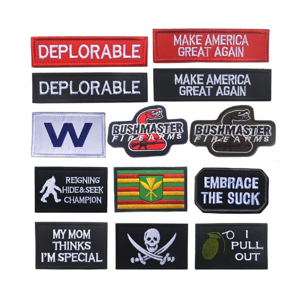 ewkft TBDpatches Store 100pcs/lot 3D Embroidery Trump patches loops and  MAKE AMERICA GREAT AGAIN PATCHES Mdeick style chest DEPLORABLE patches