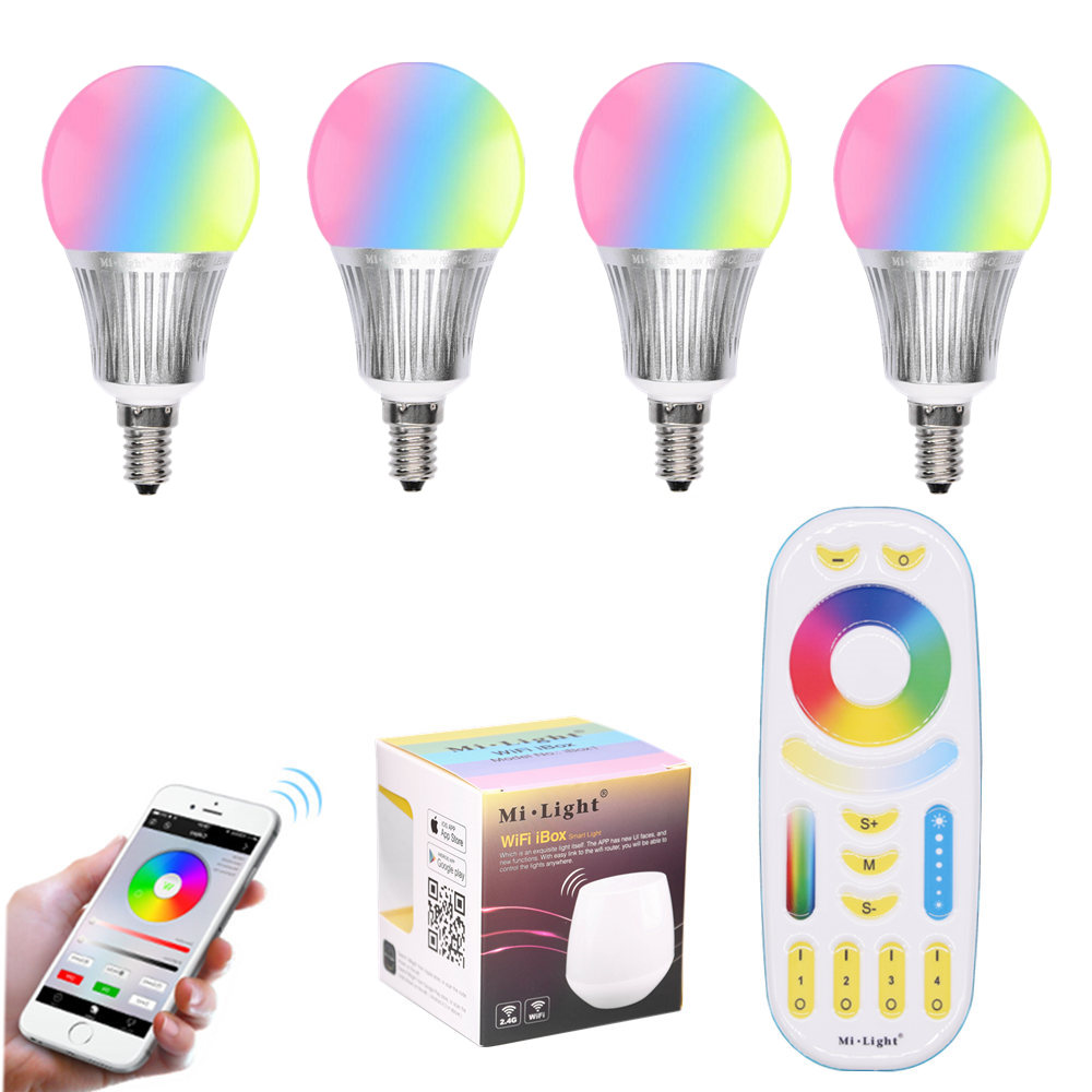 New Arrival Spotlight LED Lamp Mi Light E14 5W RGB+CCT LED Bulb AC 86-265V 2.4G RF Smart Remote Wireless WiFi Control Dimmable mi light 2 4g 1pcs lot 12w led downlight remote rf control wireless bulb lamp white warm white down light 85 265v