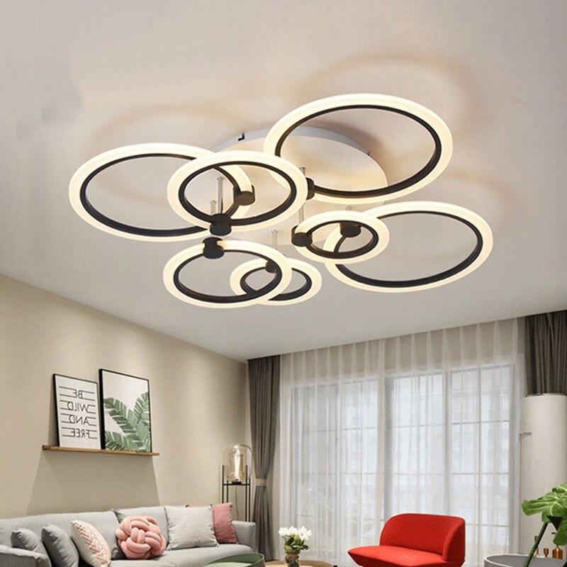 Moderne Anneaux LED Plafond Lumières Pour Salle À Manger Salon Cuisine Appareils Accueil Restaurant Plafon Avec Télécommande Chambre Plafond Lampe