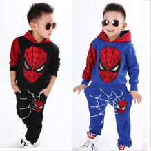 2016 New Cartoon Spider Man Hooded Sweater Cool Suit Children's Cartoon 2 Piece Hooded Suit YY0275 Free Shipping