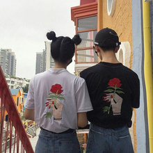 Harajuku Vintage Korean Style Summer Women T-Shirt Embroidery Flower Rose Hand Short Sleeve Tee Top