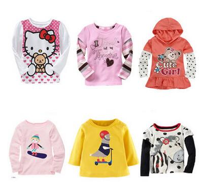 2016 tiskok retail brand new fashion kids clothing Long sleeve 100%cotton blouse children clothes girl t shirts free shipping
