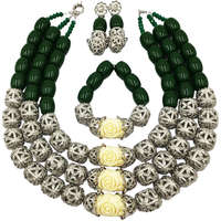 Fashion Green Artificial Coral White Cameo Flower Costume African Wedding Beads Nigerian Necklace Wedding Jewelry Set FSH 009