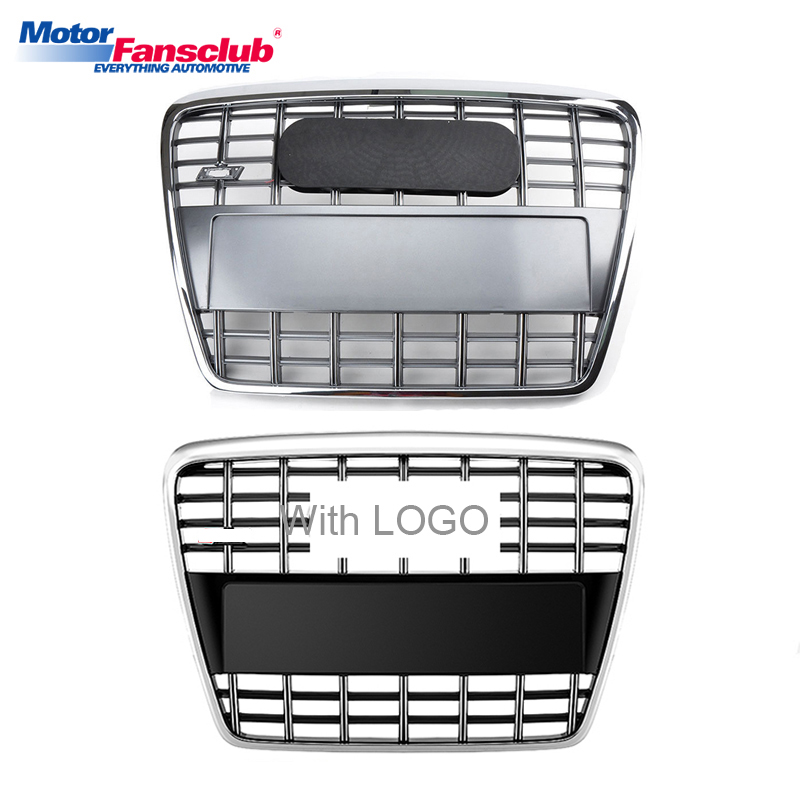 Sliver/Black Car Racing Grille For Audi A6 C6 Grill 2005-2011 Quattro S6 Style With Emblems Radiator Front Bumper Chrome Mesh possbay front fog light for audi a6 c6 quattro a6 s6 avant 2009 2011 yellow lights lower bumper external lights car styling
