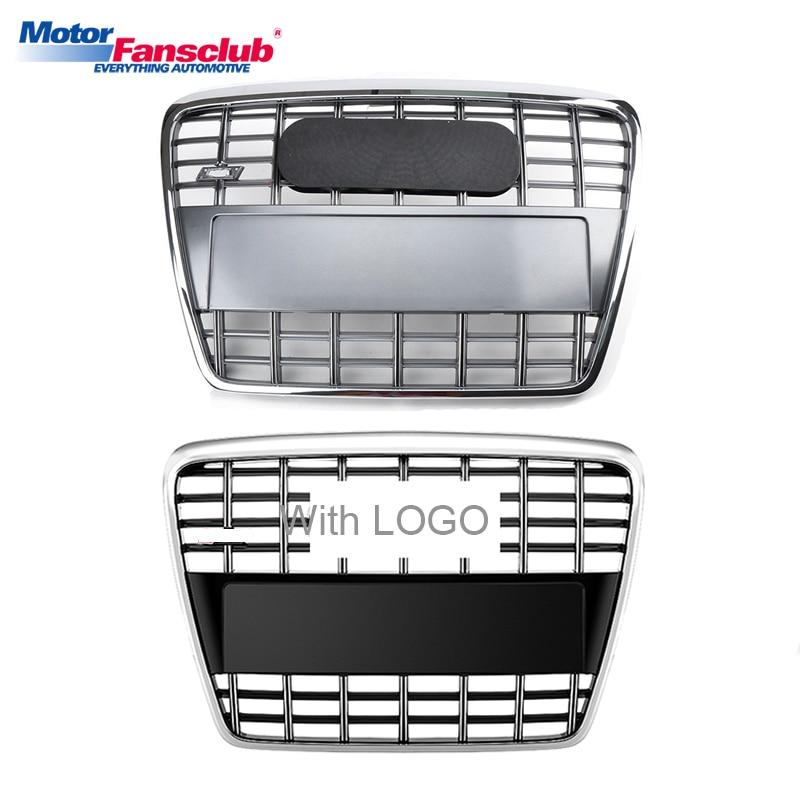 Здесь можно купить  Sliver/Black Car Racing Grille For Audi A6 C6 Grill 2005-2011 Quattro S6 Style With Emblems Radiator Front Bumper Chrome Mesh  Автомобили и Мотоциклы