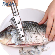 Stainless Steel Fish Scraper Knife Tools Fish Skin Scaler Brush Cleaner Peelers Cooking Tools High Quality