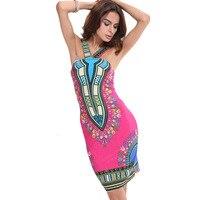 Donne Sexy Estate Della Spiaggia Stampa del Vestito Della Boemia Vestito Dashiki Tradizionale Abbigliamento Africano Halter Dress 2017 Moda Abiti 6012