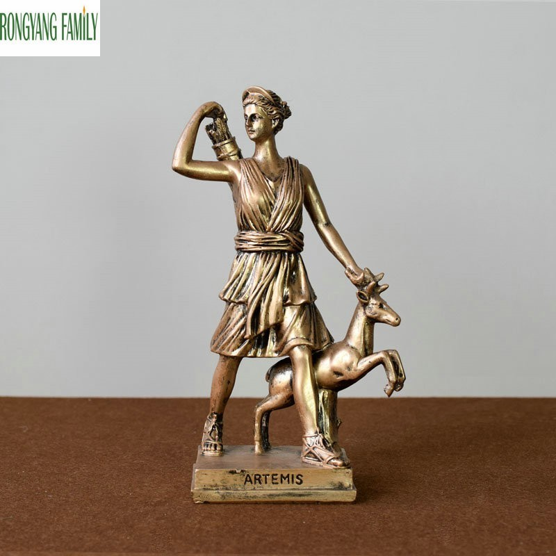 Ancient Greek Hunting Goddess Sculpture European Resin Ornaments Character Statue Home Office Desktop Decoration Figurine Crafts