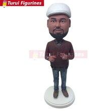 Custom Bobblehead Personalized Husband Boyfriend Gift Bobble Head Clay Figurines Based on Customers Photos BF Birthday Cake Top