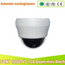YUNSYE mini high outdoor Auto -tracking Speed Dome Auto 1/3 sony CCD 1200tvl 10X speed dome camera Auto -tracking PTZ camera