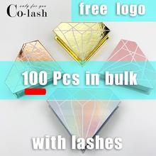 Colash Custom eyelash box Logo Individual Fake 3d Mink Lashes Extension Box Faux Cils strip Empty Case with 100 pairs lash