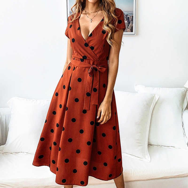 Лосский летнее платье Для женщин Винтаж платье Повседневное горошек трапециевидной формы с принтом Платья для вечери