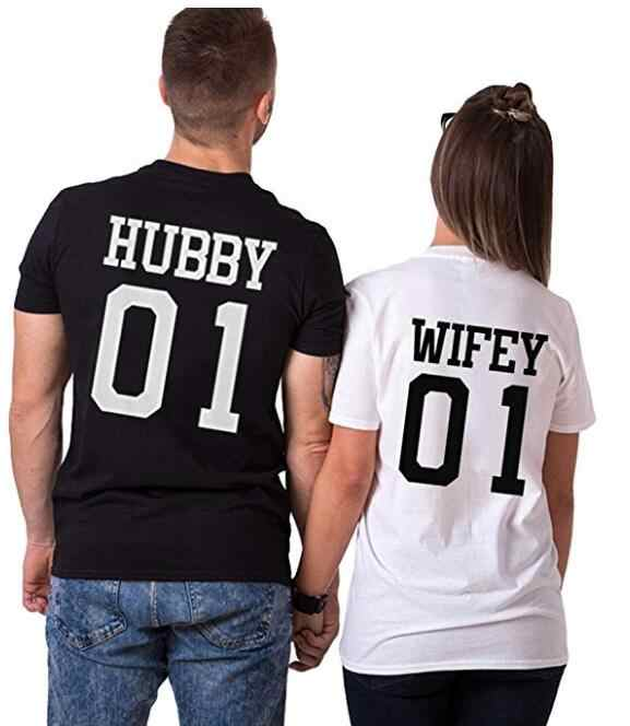 0a0e38136a2 Hubby Wifey 01 Graphic T-Shirt Casual Style High Quality Cotton Tees Women  Men