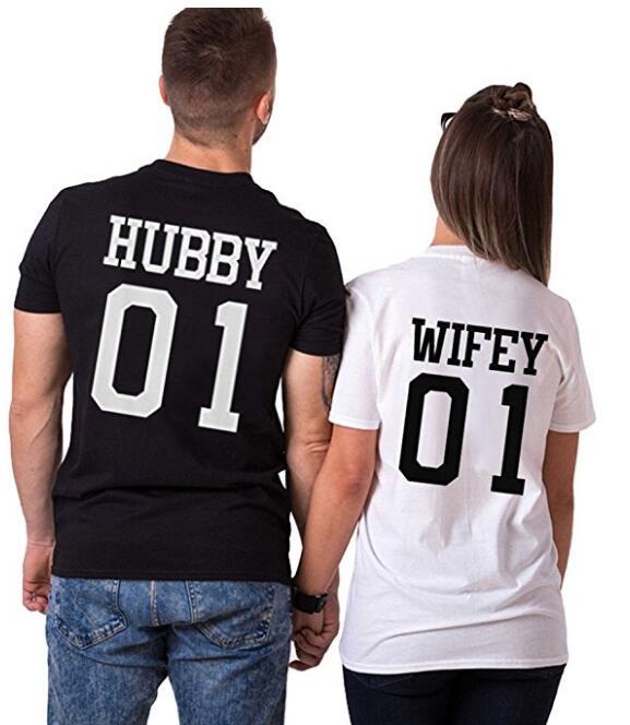 Marido Esposa 01 Gráfico T-Shirt Estilo Casual Algodão de Alta Qualidade T-shirt Mulheres/Homens Engraçado Letra t-shirt Roupas Camisa Da Menina top S-3XL