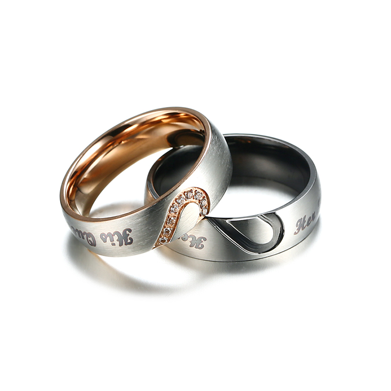 Vnox Her King His Queen Couple Wedding Band Ring Stainless Steel Cz