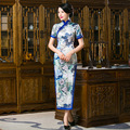 Women Dress Chinese Elegant Satin Qipao Long Cheongsam Vintage Vestido Curto Abiye Gece Elbisesi Robe De Soiree Evening Dress