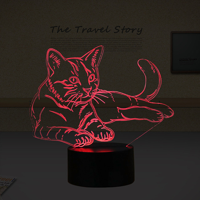 3D Cat Night Light Animal Lamp LED Acrylic Vision Light USB Touch Desk Lamp