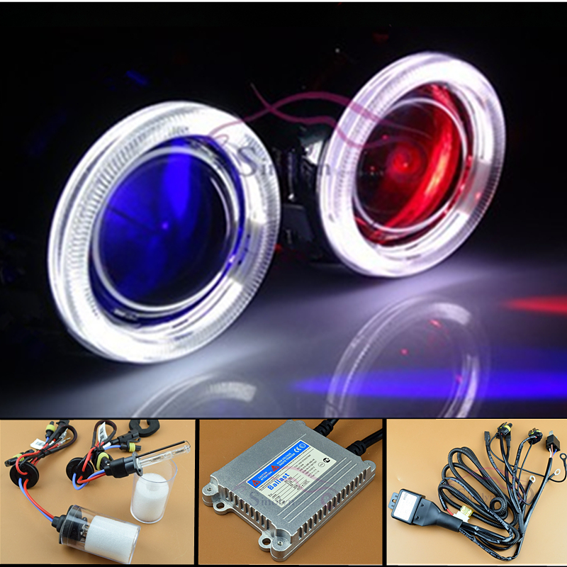 HID Bi xenon Projector Lens Headlight CCFL Angel Eyes Halo LED Demon Evil Eyes Headlamp Full Kit For Car/Motorcycle Styling
