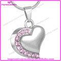 IJD8018 Pink crystal inlay coração lembrança urns da cremação jóias em aço inoxidável 316L pingente de cinzas