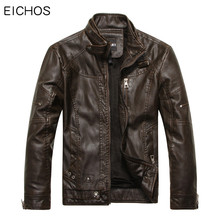 EICHOS Mens Leather Jacket Autumn Winter Faux Leather Jackets Male Business Casual Solid Color Pilot Leather Jacket Coats PY0905