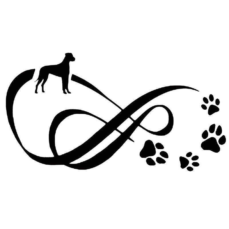 18.2*9.8CM Great Dane Dog Paw Print Car Stickers Reflective Vinyl Decal Car Styling Truck Decoration Black/Silver S1-0802