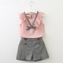 2019 Summer Childrens Clothing Korean Girls Chiffon Vest + Plaid Hot Pants Two-piece Suit 9062