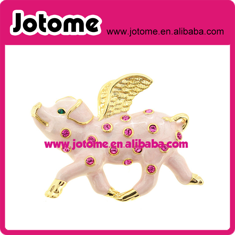 Gole metal fashion pig angel rhinestone brooch , pig with wings brooch