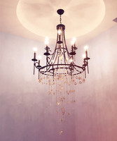 97cm/38.2 interior lighting shell crystal chandelier shell lamp E14 led luminaria retro rusty iron chandelier crystal lighting