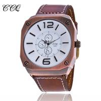CCQ New Luxury Brand Genuine leather Men Sports Watch Fashion Military Quartz Watch Relogio Masculino Clock Hours C19