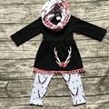 Детские зимние НАРЯДЫ для девочек 3 шт. наборы с шарфом устанавливает девушки олень одежда новорожденных девочек бутик одежды черный топ костюмы