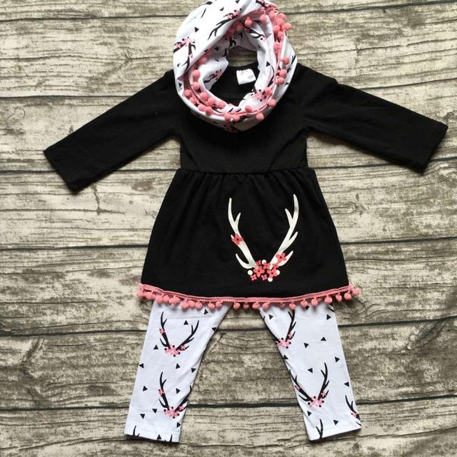 ROUPAS de inverno meninas do bebê 3 peças conjuntos com conjuntos de cachecol renas meninas outfits bebê roupas meninas boutique de roupas top preto